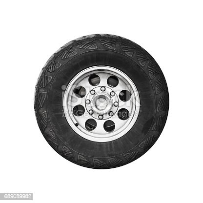 SUV car wheel, frontal view isolated on white background