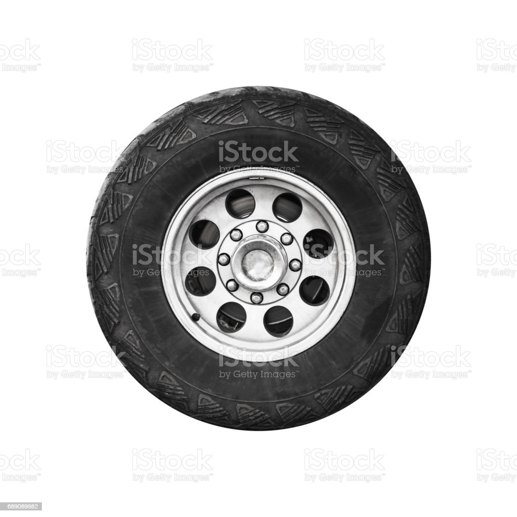 SUV car wheel, frontal view isolated on white stock photo
