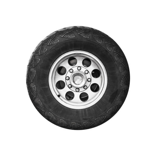 suv car wheel, frontal view isolated on white - truck tire foto e immagini stock