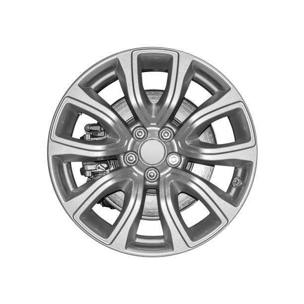 Car wheel isolated on white background. stock photo
