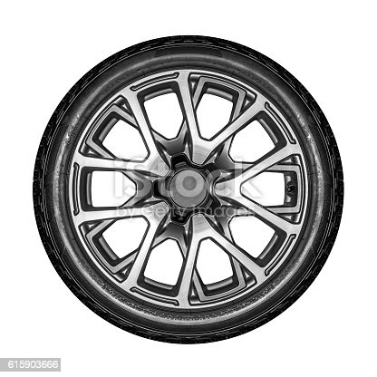 Car wheel. Unbranded car alloy wheel isolated on a white background.
