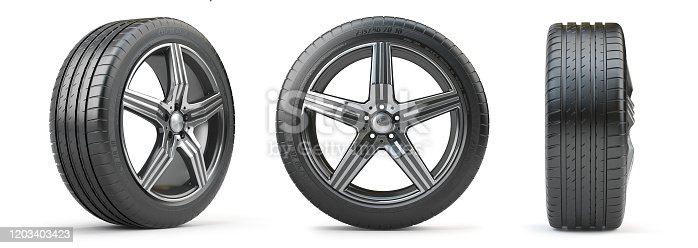 Car wheel on alloy disc with tyre isolated on white. Different points of view. 3d illustration