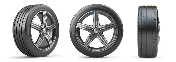 istock Car wheel on alloy disc with tyre isolated on white. Different points of view. 1203403423