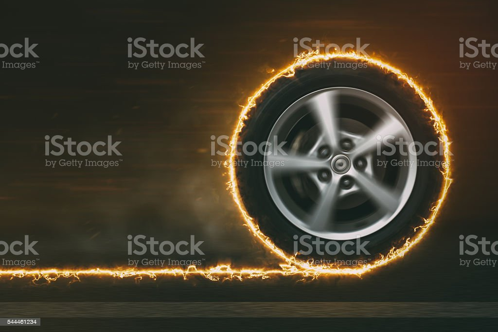 Car Wheel on Fire stock photo