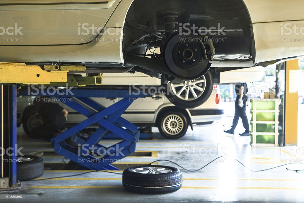 car wheel  suspension and brake system maintenance stock photo