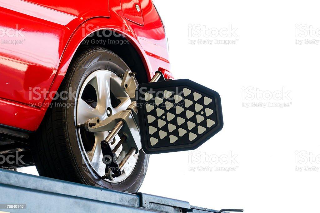 Car wheel test stock photo