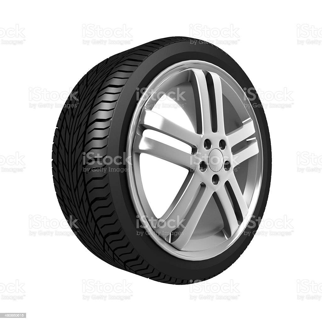 Car wheel, vehicle part. stock photo