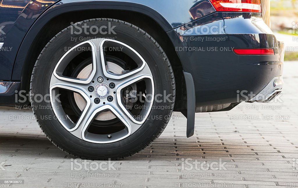 Car wheel with Mercedes Benz logotype stock photo