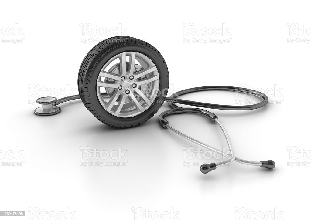 Car Wheel with Stethoscope stock photo