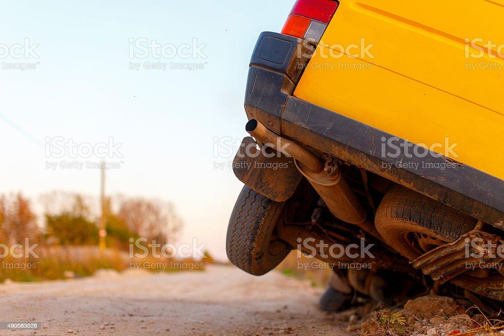 car wheels got stuck in a ditch stock photo