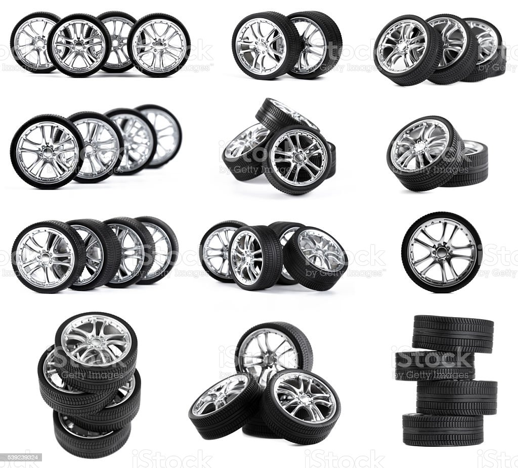 Car wheels on white background. royalty-free stock photo