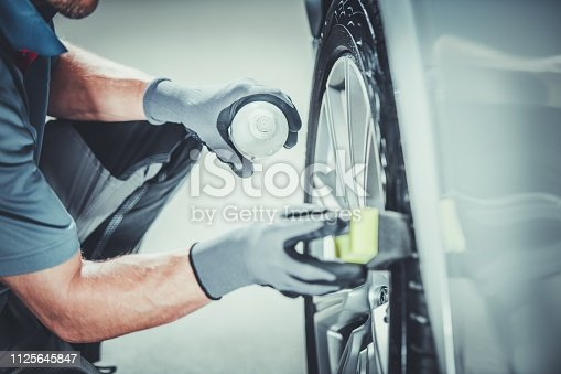 Car Wheels Pro Cleaning Using Professional Detergents. Vehicle Detailed Clean.