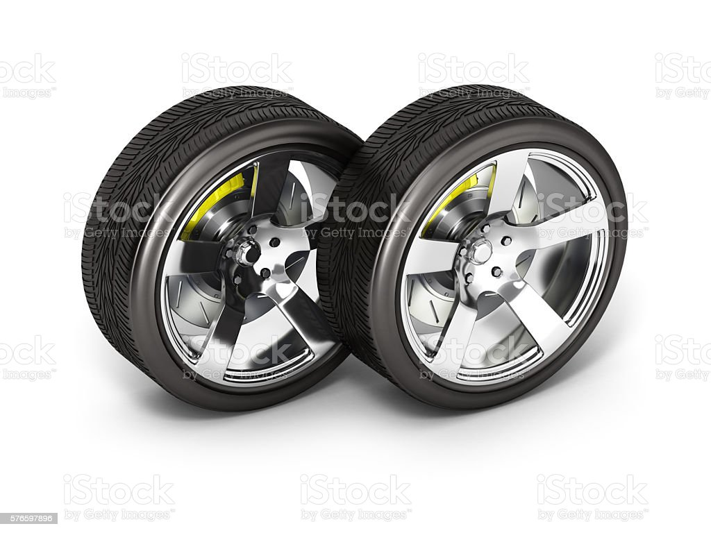 Car wheels with brake isolated on white background 3d stock photo