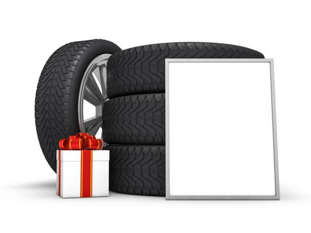pkw-räder mit weißen geschenkbox und poster, weißen hintergrund. 3d-rendering - bandanzeige stock-fotos und bilder