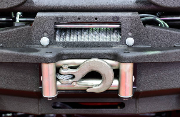 car winch. - cable winch stock photos and pictures