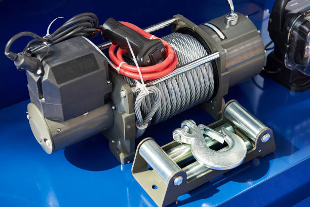 car winch - cable winch stock photos and pictures