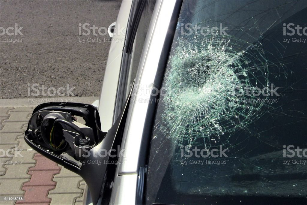 Car window after the accident with pedestrian stock photo