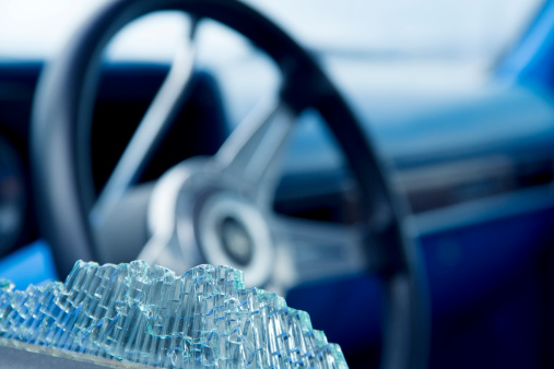 Car Window Smashed Closeup Stock Photo - Download Image Now