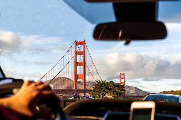 Car window view on Golden gate bridge, San Francisco, California. stock photo