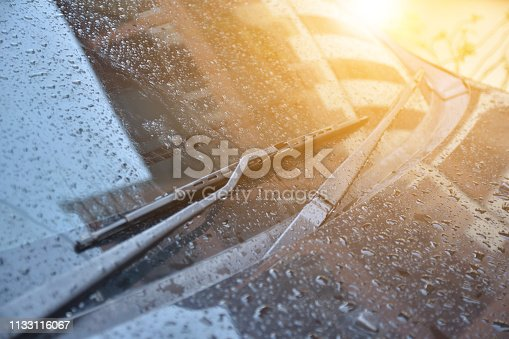 istock Car wiper at front of car 1133116067