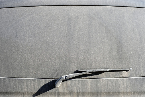 car wiper with dirty glass. close-up