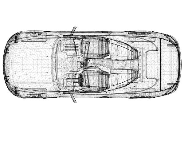 car wireframe - diagram stock pictures, royalty-free photos & images