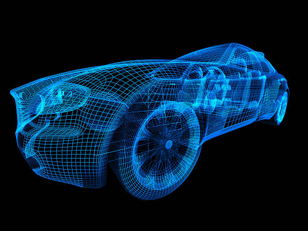 car wireframe - wire frame model stock photos and pictures