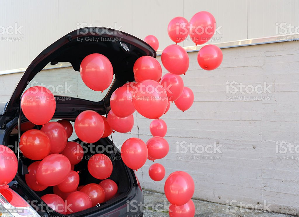 Car with balloons stock photo