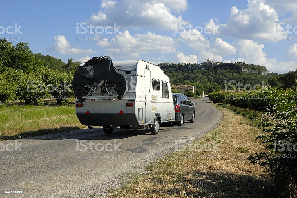 Car with caravan in France royalty-free stock photo