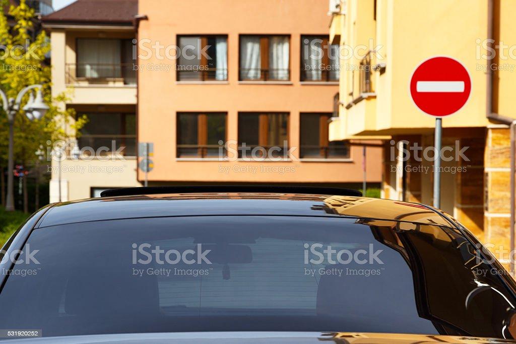 Car with dark tinted windows stock photo