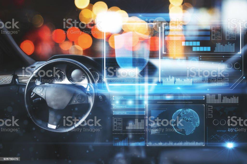 Auto mit Digitalschnittstelle - Lizenzfrei Antiviren-Software Stock-Foto