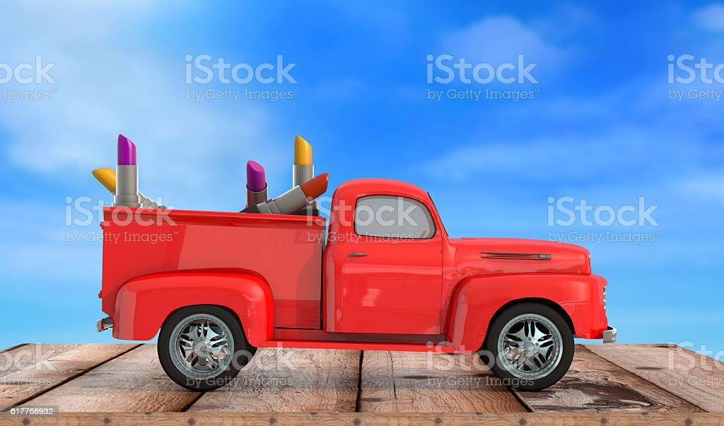 car with lipstick on wooden background 3d render stock photo