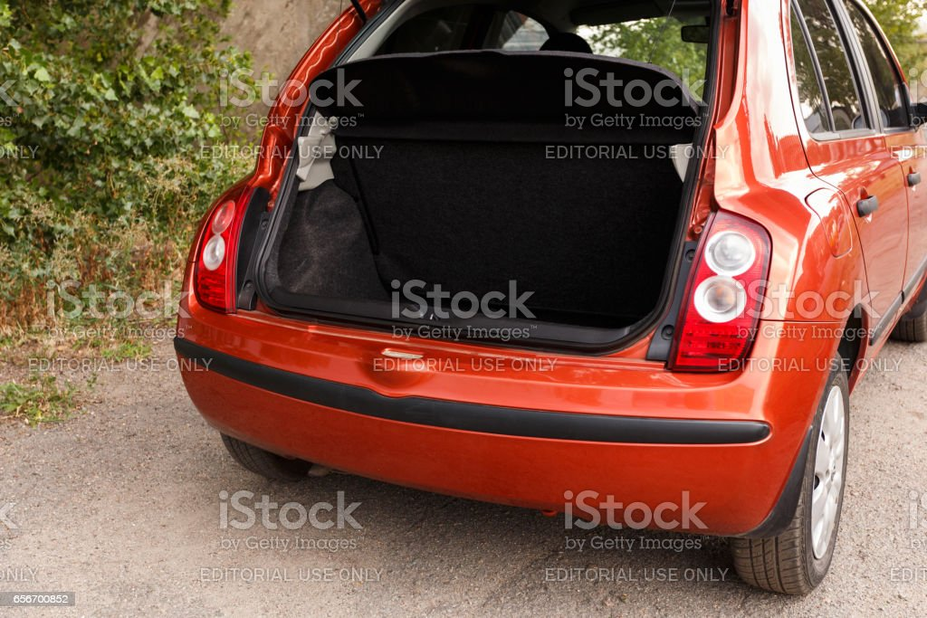 Car with open clean empty trunk stock photo