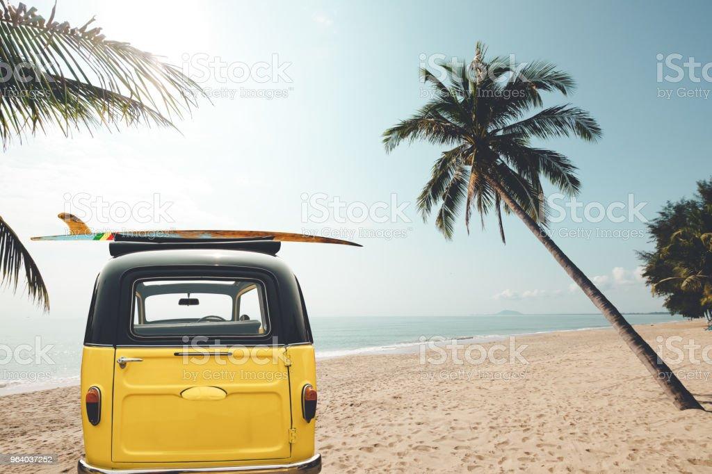car with surf on the tropical beach - Royalty-free Beach Stock Photo