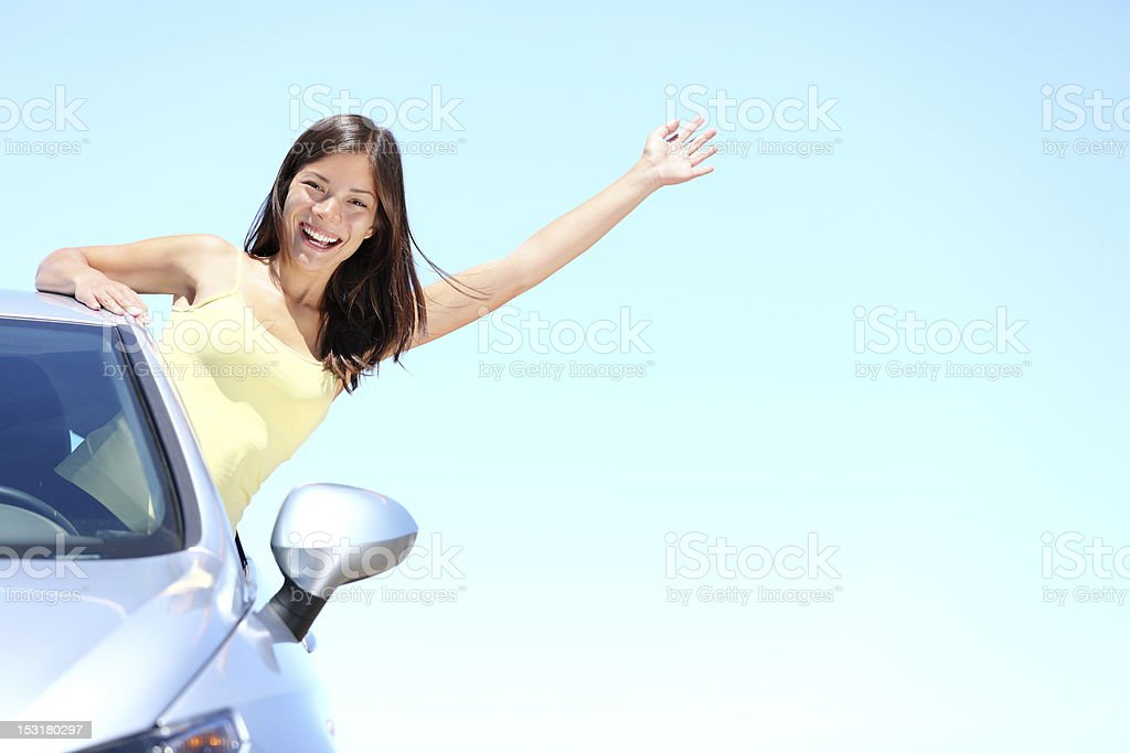 Car woman on road trip royalty-free stock photo