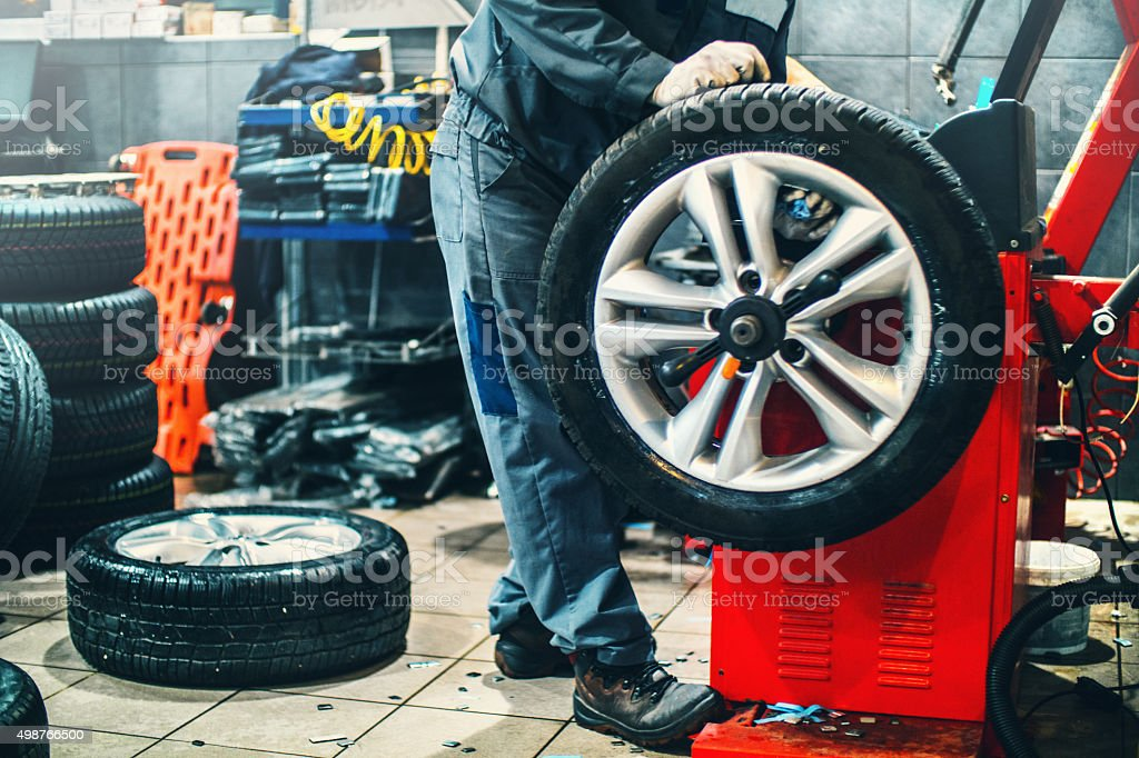 Car workshop daily routine. stock photo