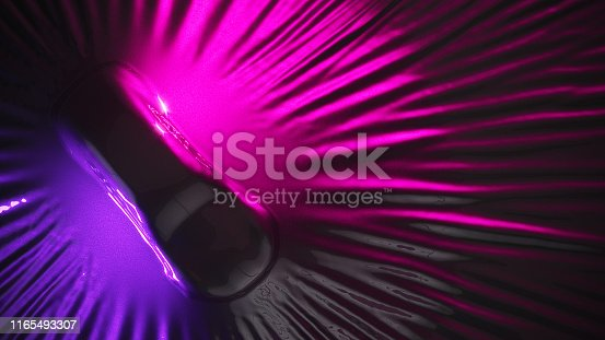 istock Car wrapping process. wrapping car body closeup with stretching ultra violet film. copy space. photo realistic 3d render. 1165493307