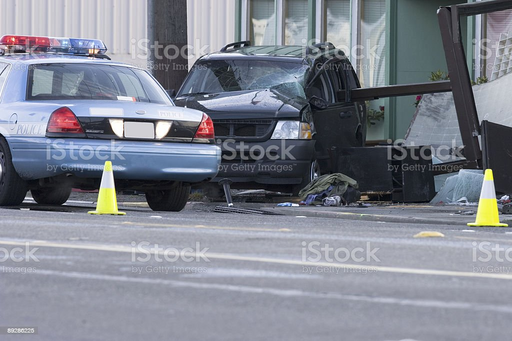 Car wreck after chase royalty-free stock photo