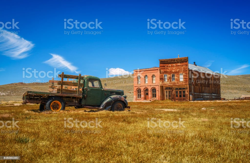 Car wreck in Bodie ghost town, California stock photo