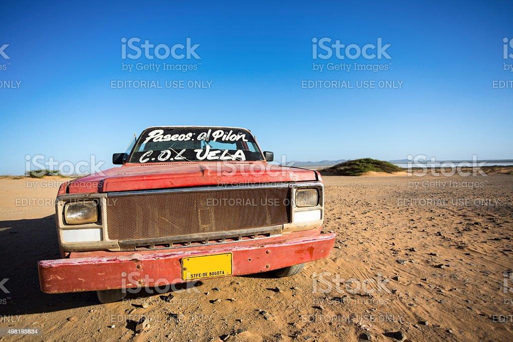 Car wreck on the beach, El Cabo De La Vela stock photo