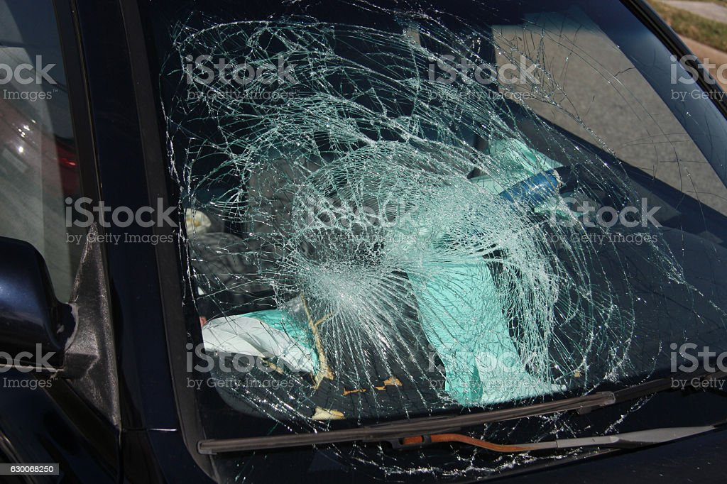 Car Wreck Shattered Windshield stock photo