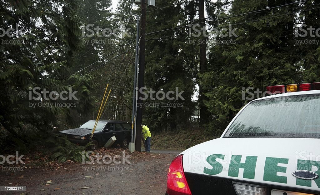 Car Wreck Sheriff and Lineman royalty-free stock photo