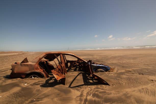car wreckage stock photo