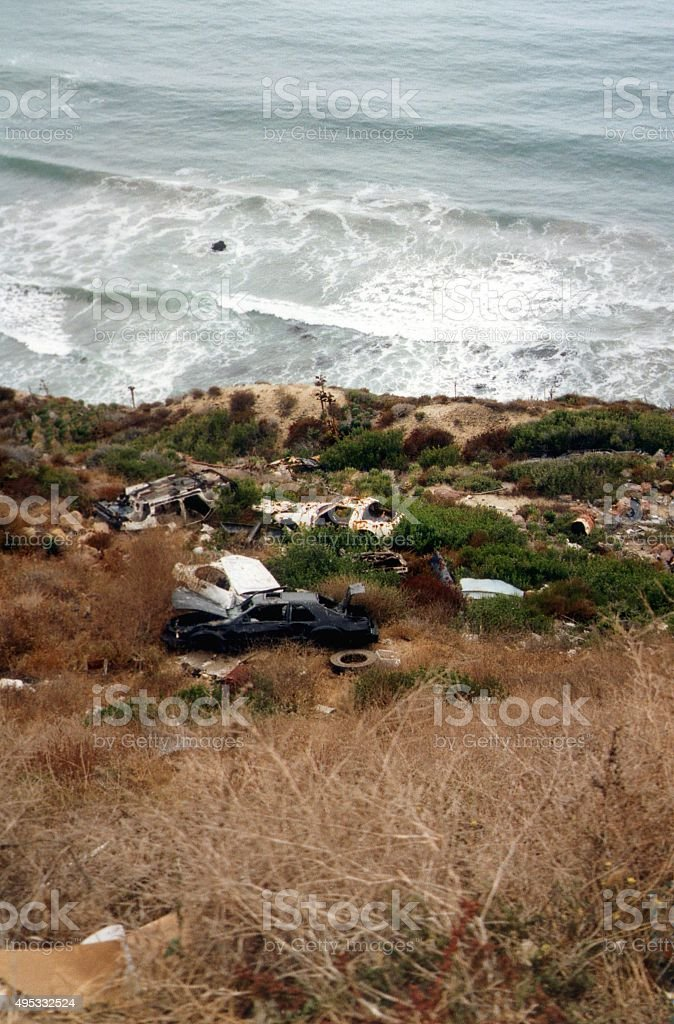 Car wrecks on Baja California's pacific coastline, Mexico stock photo