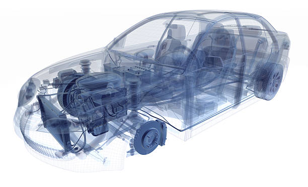 car x-ray - wire frame model stock photos and pictures