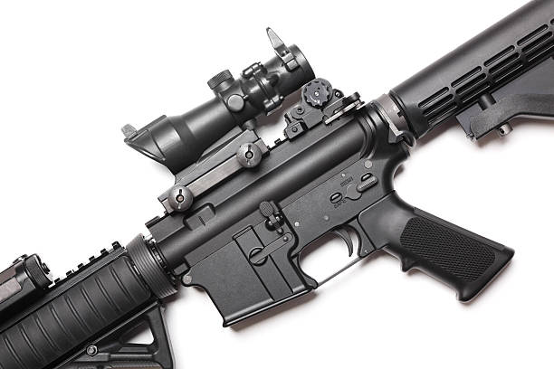 AR-15 carabine The Black Rifle. Body of AR-15 carbine on white close-up. Studio shot. ar 15 stock pictures, royalty-free photos & images