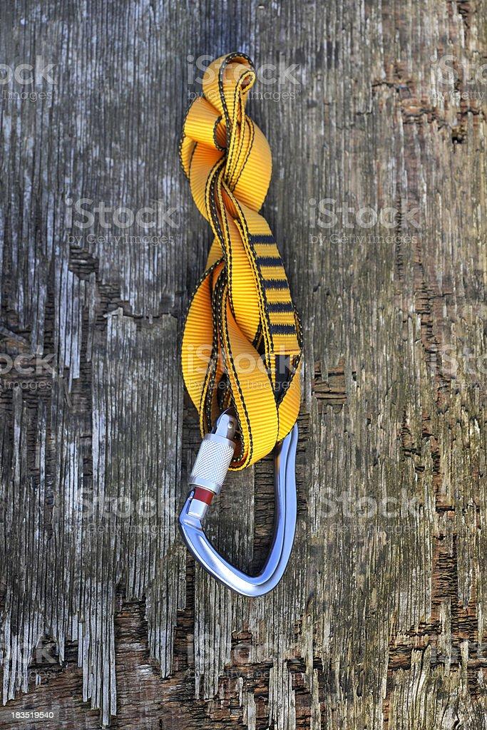 Carabiner and climbing strap royalty-free stock photo
