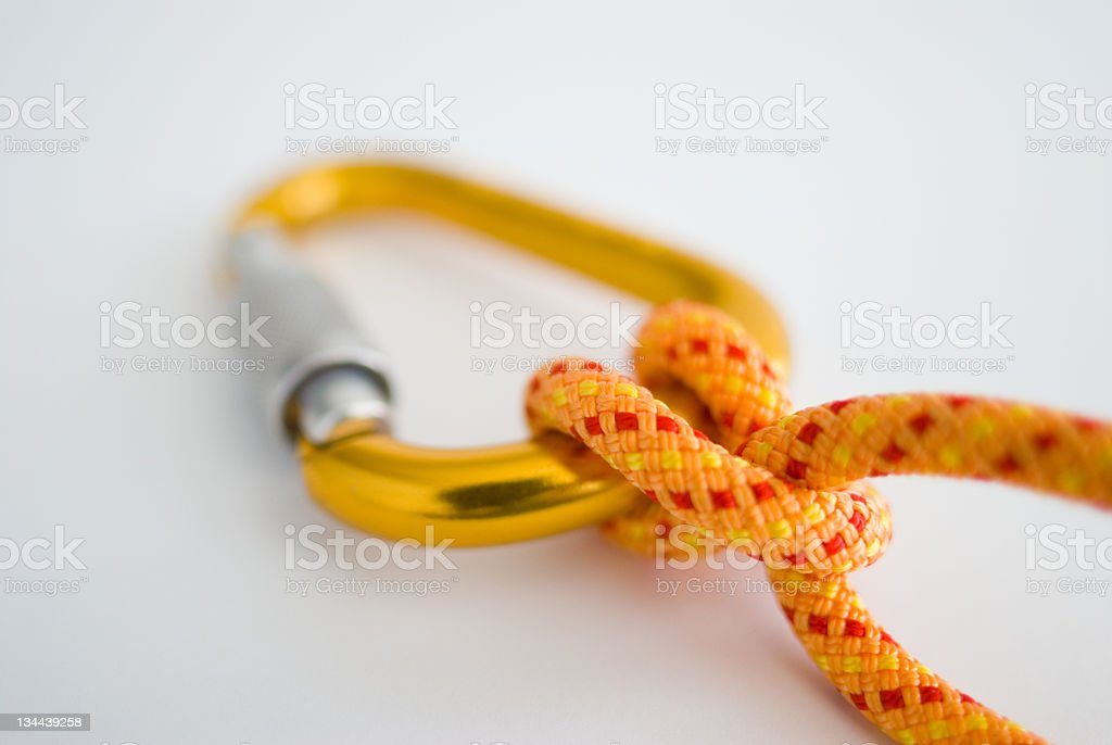 Carabiner and Rope with Clove Hitch stock photo