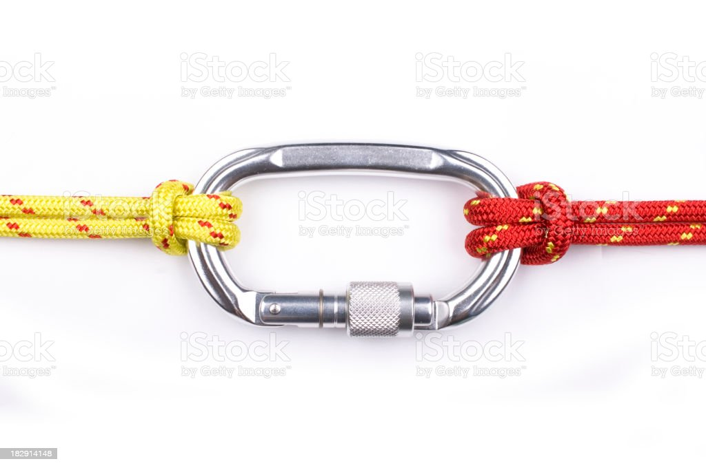 Carabiner with rope isolated on white stock photo