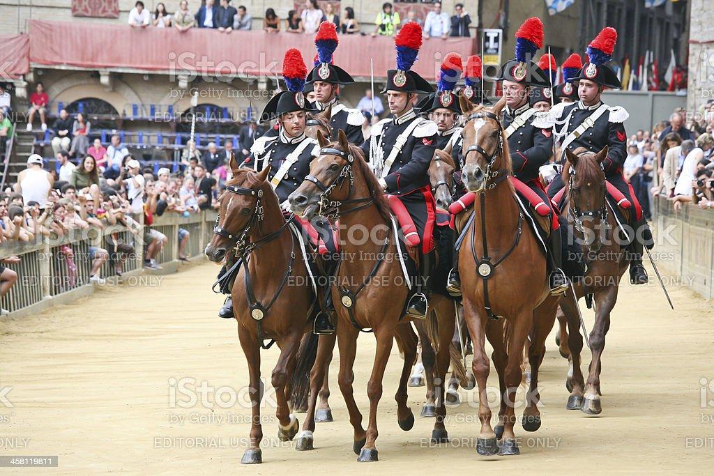 Carabinieri a cavallo stock photo